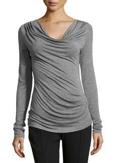 Max Studio Cowl-Neck Draped Jersey Top, Heather Steel