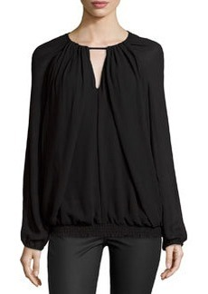 Max Studio Crepe Georgette Blouse, Black