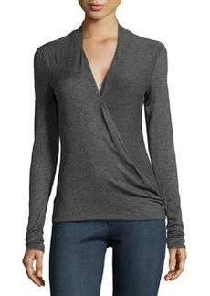 Max Studio Crossover-Front Jersey Tee, Charcoal