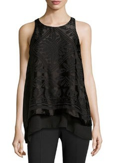 Max Studio Devore Sateen Layered Top, Black
