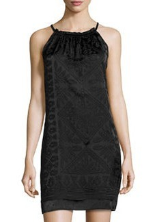 Max Studio Devore Velvet-Trim Sleeveless Dress, Black