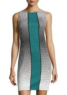 Max Studio Dot-Print Sleeveless Scuba Dress, Sailor Blue/Citron
