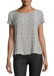 Max Studio Dotted Grid-Print Blouse, Black/Ivory