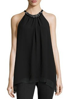 Max Studio Double-Georgette Bead-Detail Blouse, Black