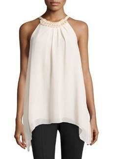 Max Studio Double-Georgette Bead-Detail Blouse, Champagne