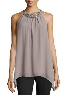 Max Studio Double-Georgette Bead-Detail Blouse, Gray