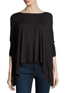 Max Studio Drop-Shoulder Handkerchief Tunic, Black