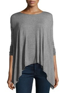 Max Studio Drop-Shoulder Handkerchief Tunic, Heather Steel