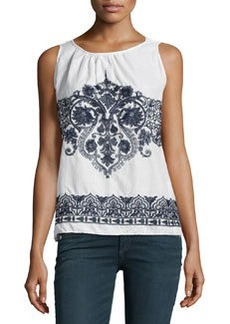 Max Studio Embroidered Cotton Tank, Off White/Navy