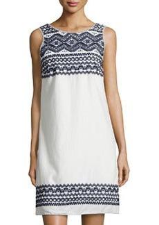 Max Studio Embroidered-Trim Sleeveless Shift Dress, White/Navy