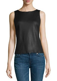 Max Studio Faux-Leather Boxy Tank, Black
