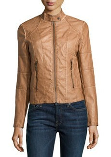 Max Studio Faux-Leather Stand Collar Jacket, Washed Cognac