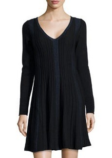 Max Studio Fit-and-Flare Knit Sweaterdress, Black/Sapphire