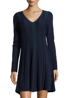 Max Studio Fit-and-Flare Knit Sweaterdress, Navy/Teal