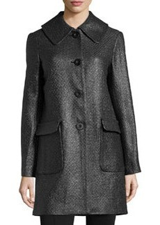Max Studio Flocked Tweed Coat, Black