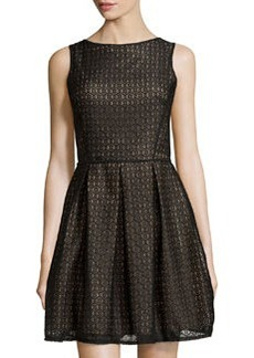 Max Studio Floral-Design Lace Sleeveless Dress, Black/Nude