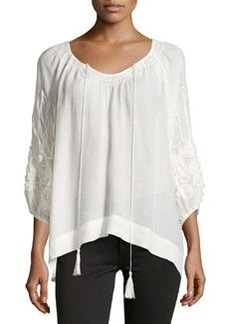 Max Studio Floral-Embroidered Boho Blouse, Ivory