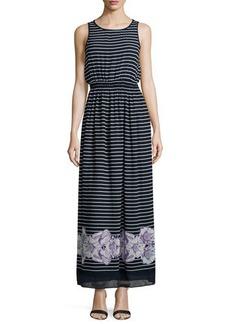 Max Studio Floral-Hem Striped Sleeveless Maxi Dress