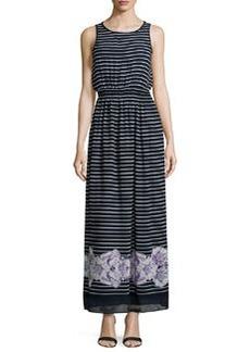 Max Studio Floral-Hem Striped Sleeveless Maxi Dress, Dark Navy/Lavender