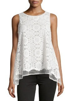 Max Studio Floral-Lace Babydoll Tank, Ivory