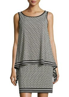 Max Studio Floral-Print Draped Sleeveless Dress, Black/Citron