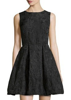 Max Studio Flower-Design Cloque Dress, Black