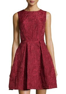 Max Studio Flower-Design Cloque Sleeveless Dress, Garnet