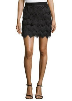 Max Studio Fringe Skirt, Black
