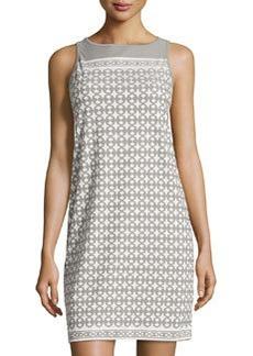 Max Studio Geo-Pattern Sleeveless Shift Dress, Gray/Ecru