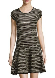 Max Studio Geometric Fit-and-Flare Sweaterdress, Black/Ivory