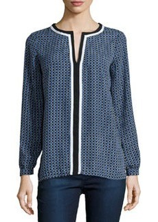 Max Studio Geometric-Print Blouse, Black/Monaco Blue