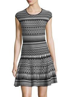 Max Studio Geometric-Print Fit-and-Flare Knit Dress