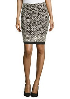 Max Studio Geometric-Print Pencil Skirt, Black/Bone