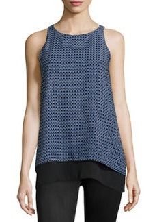 Max Studio Geometric-Print Sleeveless Blouse, Black/Monaco Blue