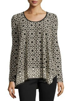 Max Studio Geometric-Print Tunic, Black/Bone