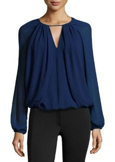 Max Studio Georgette Draped Cropped Blouse, Purple Blue