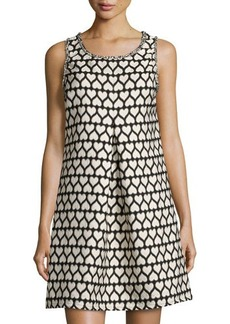 Max Studio Heart-Print Jacquard Sleeveless Dress