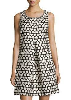 Max Studio Heart-Print Jacquard Sleeveless Dress, Black/Ecru