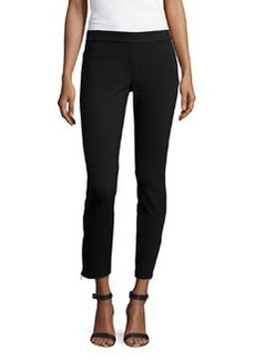 Max Studio Heavy Ponte Zip Ankle Leggings, Black