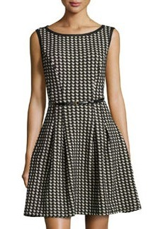 Max Studio Houndstooth-Design Knit Dress, Navy/Black