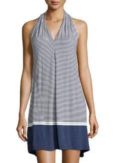 Max Studio Inverted-Pleat Striped V-Neck Dress, Indigo/Ivory