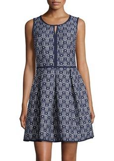 Max Studio Jacquard Fit-and-Flare Sleeveless Dress