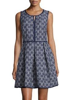 Max Studio Jacquard Fit-and-Flare Sleeveless Dress, Dark Navy/Ivy