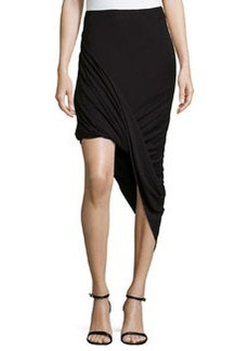 Max Studio Jersey Twisted Asymmetric Skirt, Black