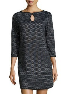 Max Studio Keyhole-Front Weave-Print Dress, Charcoal/Black