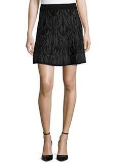 Max Studio Knit Floral-Design Sweater Skirt, Black/Charcoal Nouveau