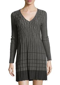 Max Studio Knitted Geometric Ribbed Dress