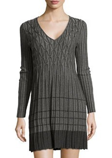Max Studio Knitted Geometric Ribbed Dress, Charcoal/Steel