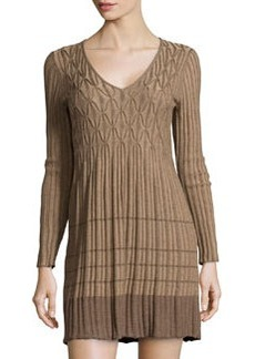 Max Studio Knitted Geometric Ribbed Dress, Mocha/Cafe