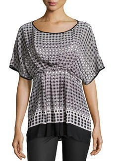 Max Studio Knot-Pleated Print Crepe Top, Foggy Dots